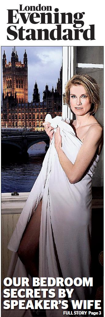 Sally Bercow in a bedsheet