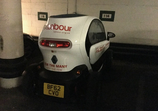 Labour Charge Electric Campaign Vehicle in Parliament