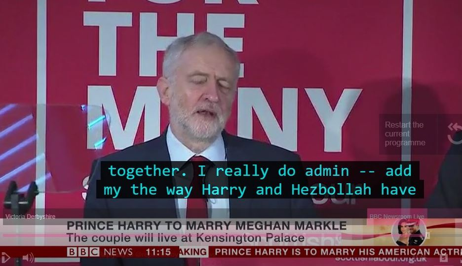BBC's Unfortunate Corbyn Subtitle Typo