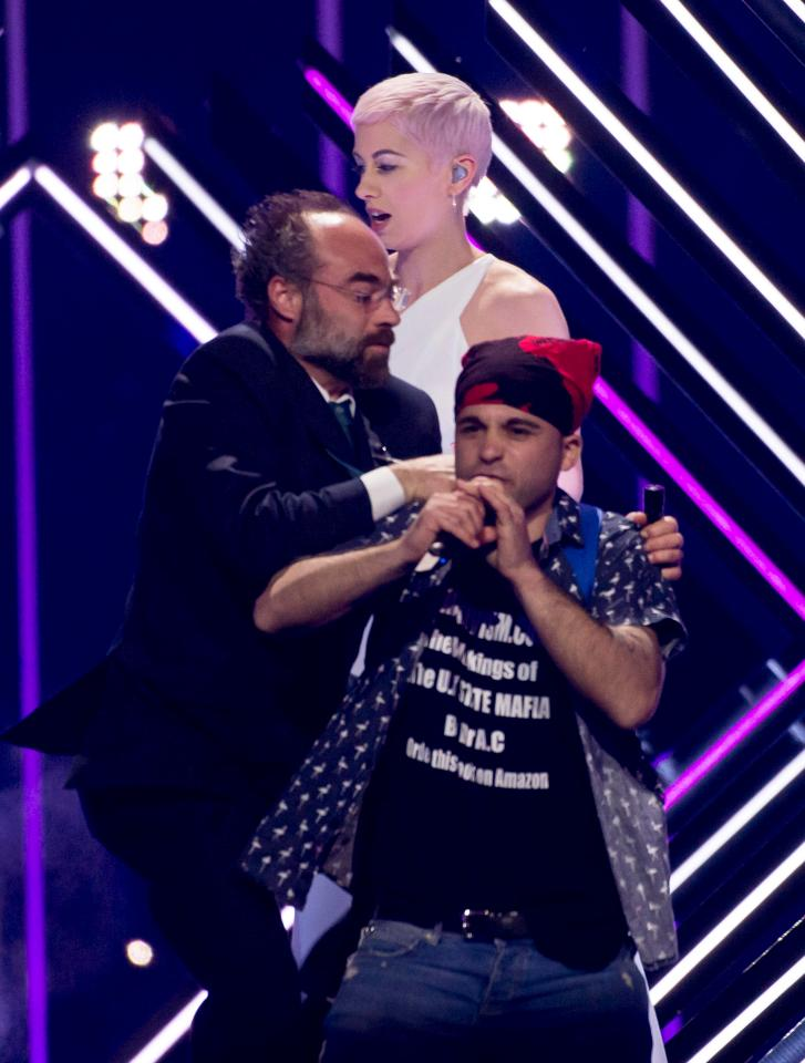 Eurovision Stage Invader is Corbynista