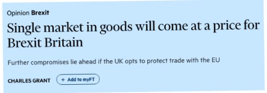 May Considers Asking to Stay in Single Market for Goods