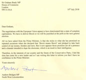 Tory MP Puts Letter In to Brady