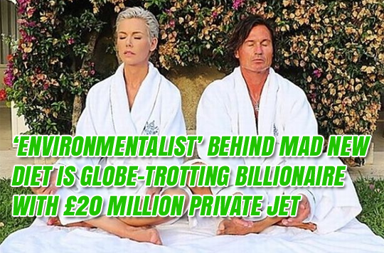 'Environmentalist' Behind Mad New Diet is Globe-Trotting Billionaire With Private Jet