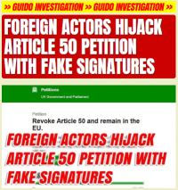 Programmers Add 72,000 Fake Signatures to Article 50 Petition With