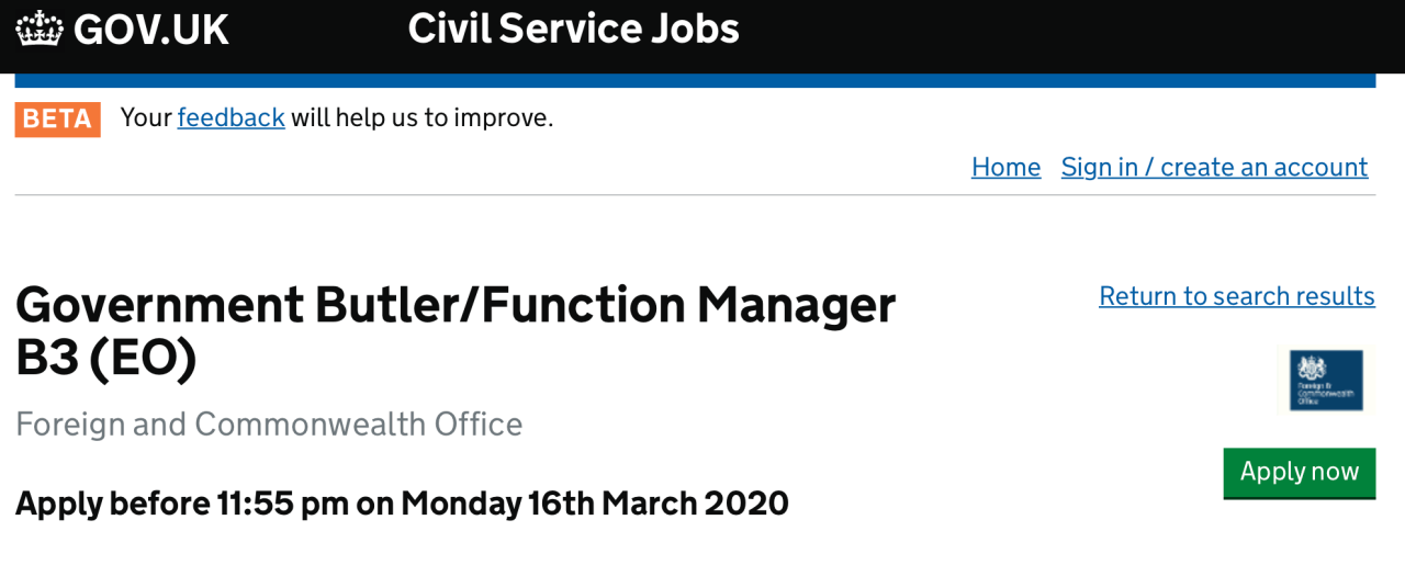 'People's Government' Hiring Butler