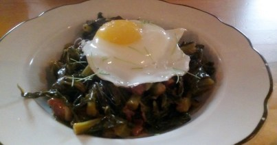 Collard greens with fried egg