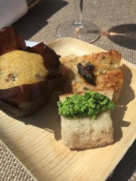 Bacon cornbread, focaccia and fresh pesto spread from Julie Frans