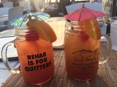 Tequila Sunrise and Rum Whoo Ha at Snook's Bayside Restaurant - 99470 Overseas Highway, Key Largo - snooks.com