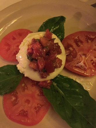 Burrata with fresh tomatoes and basil at John's of 12 Street