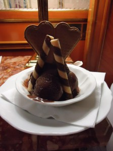 Chocolate gelato at our hotel in Rome