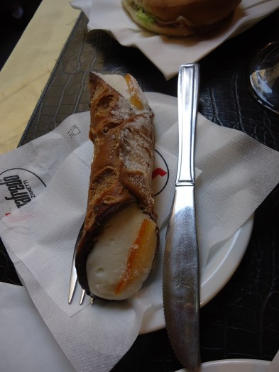 Orange cannoli at Bar La Borsa in Florence