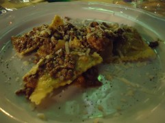 Raviolo with meat sauce at Osteria Antica Sosta in Impruneta