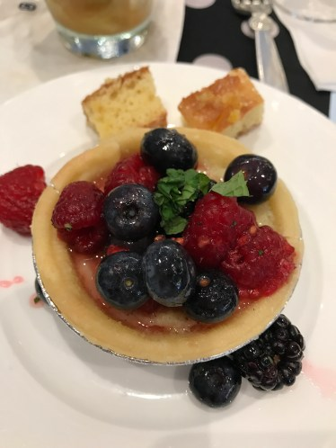 Whiskey Buttermilk Pie with Tipsy Berries from Elizabeth Karmel, Carolina Cue To-Go
