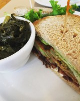 Fried green tomato BLT and collard greens at Early Girl Eatery