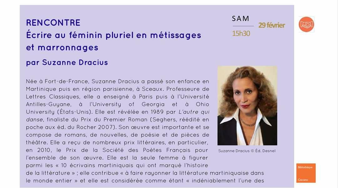 Littérature – Suzanne Dracius à Avignon
