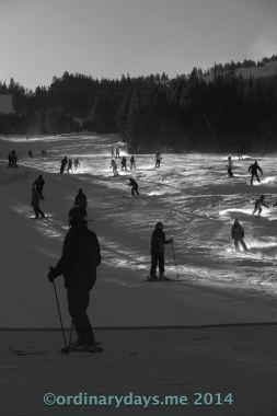 End-of-day skiers