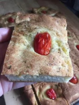 Cut up focaccia bread
