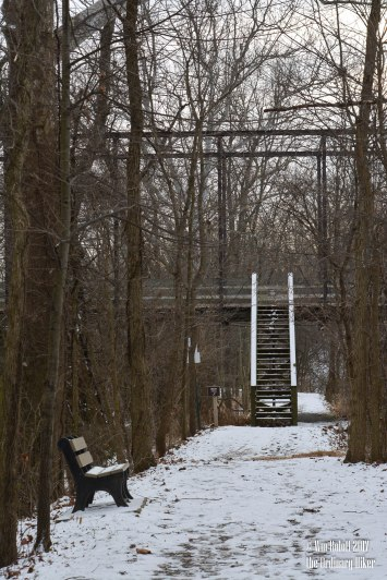 Step up to walking bridge over the Tuscarawas River to the Village of zoar