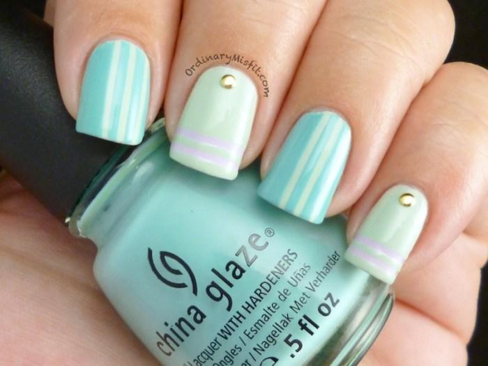 Minty stripes & studs nail art 2