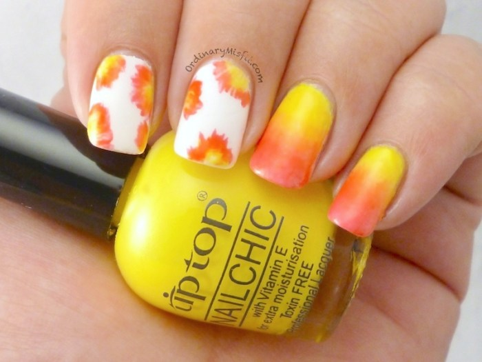 Abstract flowers nail art