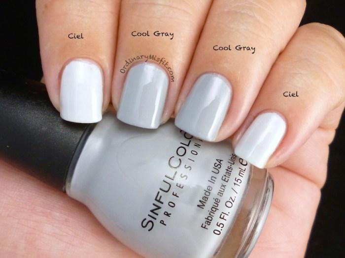 Comparison Sinful Colors - Ciel vs Sinful Colors - Cool Gray 2
