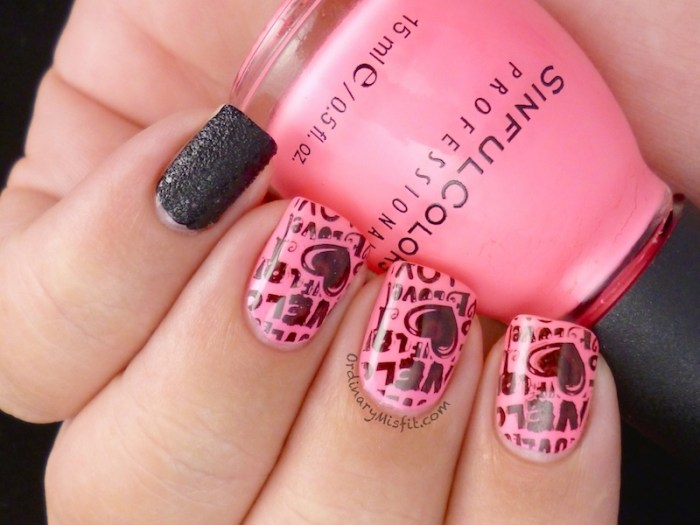 Neon & black grafitti nail art