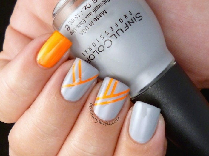 Orange stripes nail art 2