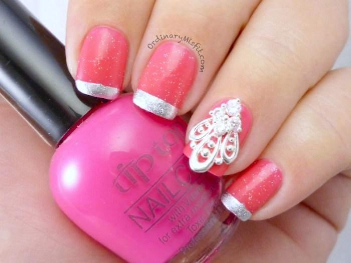 Pink french with nail veil nail art 3
