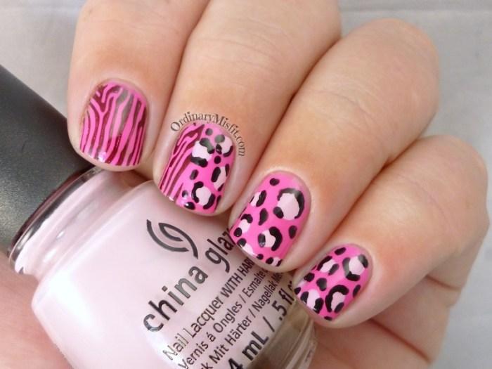 TBT hot pink safari nail art 2