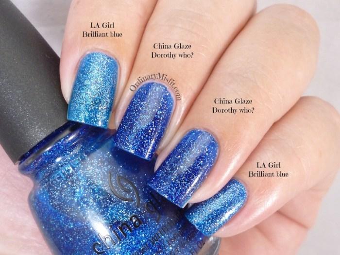 Comparison LA Girl Brilliant blue vs China glaze dorothy who