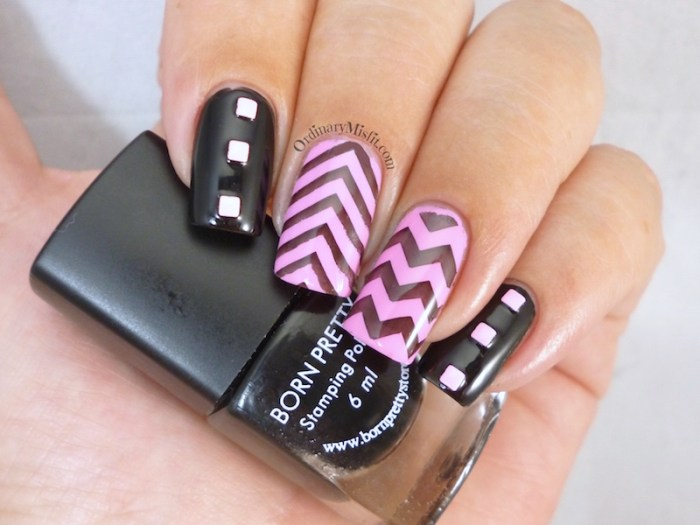 Pink and black chevrons nail art