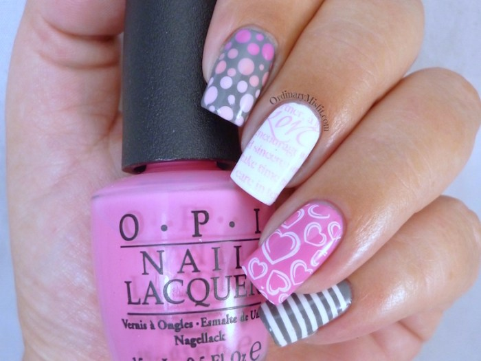 Valentine skittle nail art 2