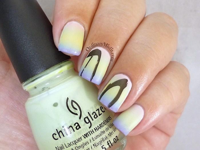 Easter Gradient nail art matte