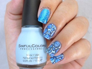 Nail Anarchy March nail art blue water marble stamped bundle monster