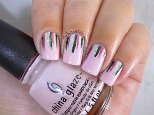 Twinsies Pink & green waterfall nail art