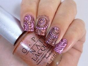 Pink nail art with Born Pretty Stpre plate BP-48