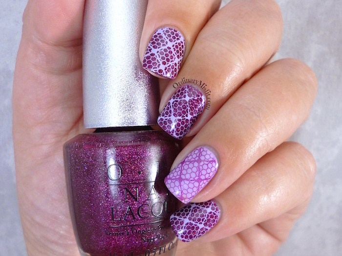 Born Pretty Store BP L020 purple stamped nail art