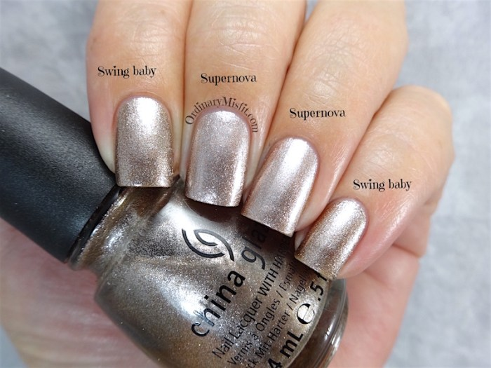Comparison  -China Glaze - Swing baby vs Sinful Colors - Supernova