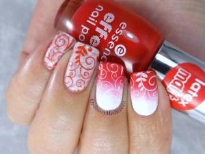 NailLinkup Feb red and white nail art