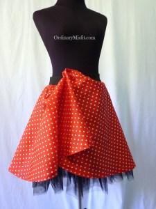 Red retro skirt pinned