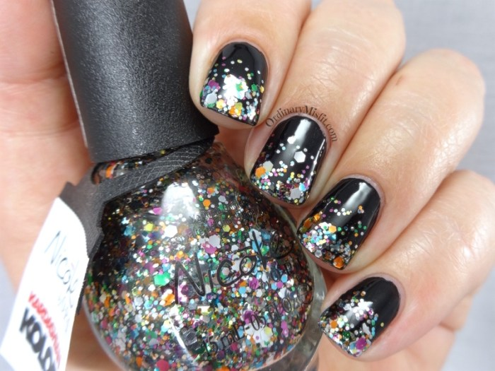Black and glitter gradient nail art