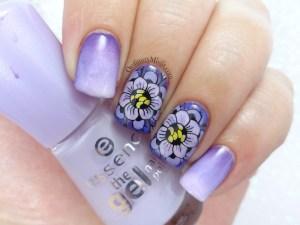 Purple petals nail art
