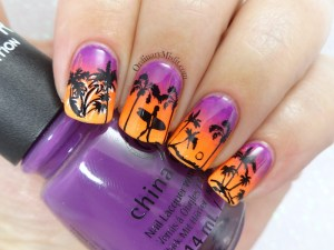 Summer sunset nail art