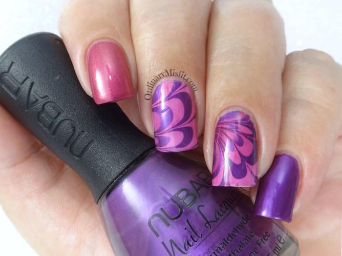 52 week nail art challenge - water marble nail art