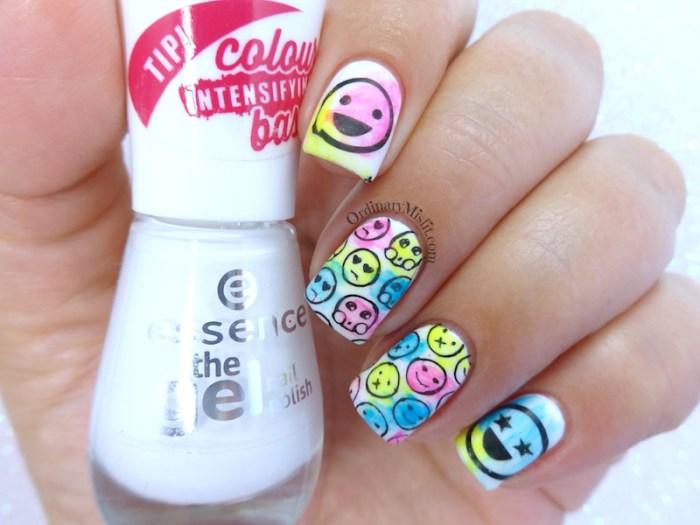 Neon emojis nail art