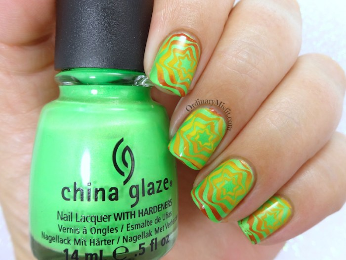 BP-L050 gradient green swirl nail art