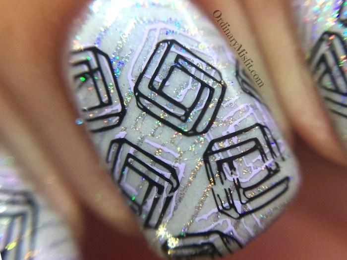 Layered swirls nail art macro