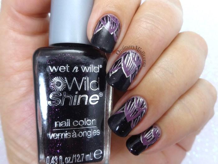 Night petals nail art