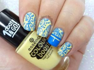 Yellow and blue nail art