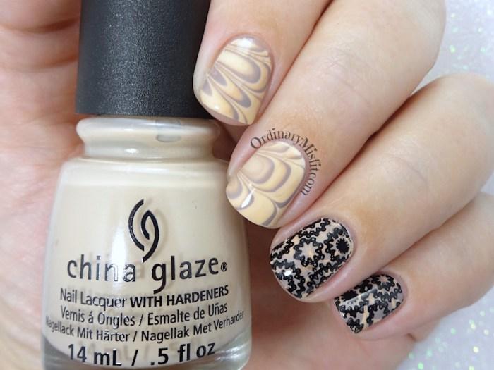 Stamped Latte marble nail art